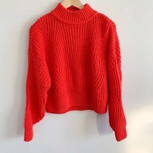 H&M Orange Cropped Sweater Oversized Pointelle xs
